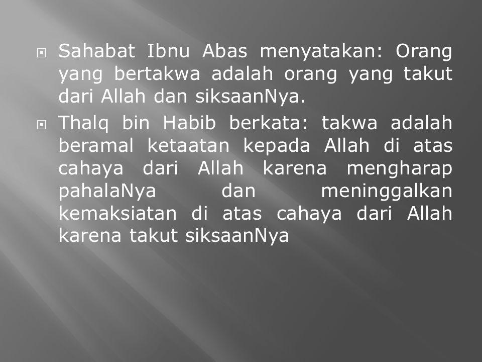  Sahabat Ibnu Abas menyatakan: Orang yang bertakwa adalah orang yang takut dari Allah dan siksaanNya.  Thalq bin Habib berkata: takwa adalah beramal