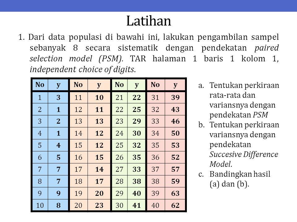 Latihan 1. Dari data populasi di bawahi ini, lakukan pengambilan sampel sebanyak 8 secara sistematik dengan pendekatan paired selection model (PSM). T