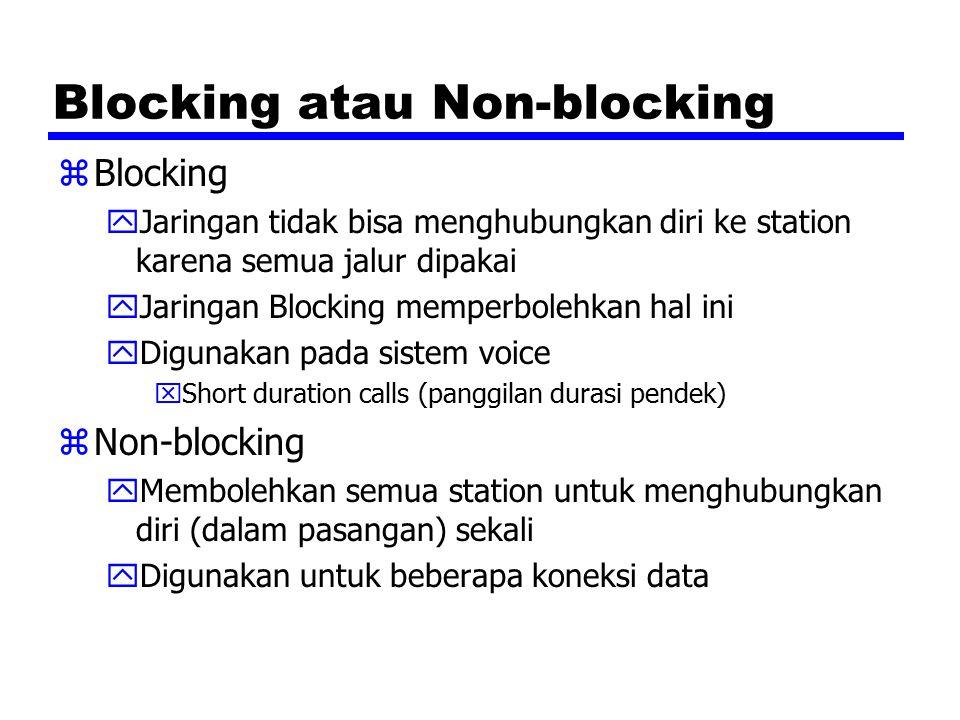 Blocking atau Non-blocking zBlocking yJaringan tidak bisa menghubungkan diri ke station karena semua jalur dipakai yJaringan Blocking memperbolehkan hal ini yDigunakan pada sistem voice xShort duration calls (panggilan durasi pendek) zNon-blocking yMembolehkan semua station untuk menghubungkan diri (dalam pasangan) sekali yDigunakan untuk beberapa koneksi data