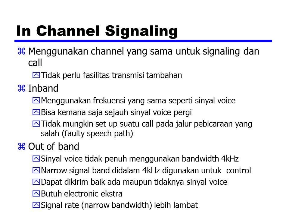 In Channel Signaling zMenggunakan channel yang sama untuk signaling dan call yTidak perlu fasilitas transmisi tambahan zInband yMenggunakan frekuensi yang sama seperti sinyal voice yBisa kemana saja sejauh sinyal voice pergi yTidak mungkin set up suatu call pada jalur pebicaraan yang salah (faulty speech path) zOut of band ySinyal voice tidak penuh menggunakan bandwidth 4kHz yNarrow signal band didalam 4kHz digunakan untuk control yDapat dikirim baik ada maupun tidaknya sinyal voice yButuh electronic ekstra ySignal rate (narrow bandwidth) lebih lambat