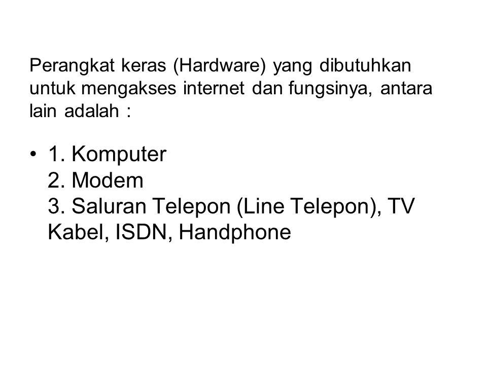 Perangkat keras (Hardware) yang dibutuhkan untuk mengakses internet dan fungsinya, antara lain adalah : 1. Komputer 2. Modem 3. Saluran Telepon (Line