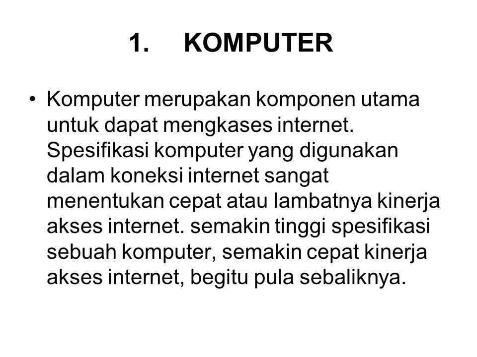 1. KOMPUTER Komputer merupakan komponen utama untuk dapat mengkases internet. Spesifikasi komputer yang digunakan dalam koneksi internet sangat menent