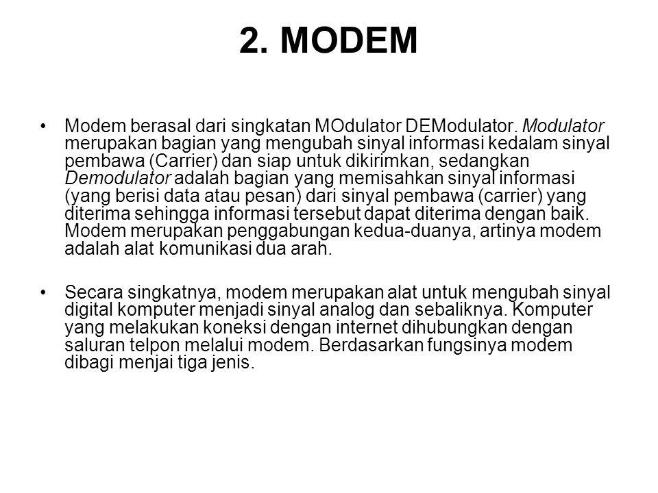 2. MODEM Modem berasal dari singkatan MOdulator DEModulator. Modulator merupakan bagian yang mengubah sinyal informasi kedalam sinyal pembawa (Carrier