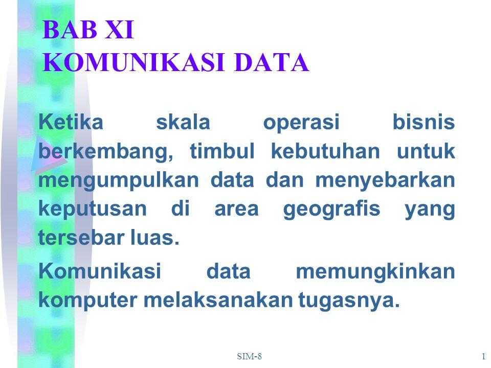 SIM-81 BAB XI KOMUNIKASI DATA Ketika skala operasi bisnis berkembang, timbul kebutuhan untuk mengumpulkan data dan menyebarkan keputusan di area geogr