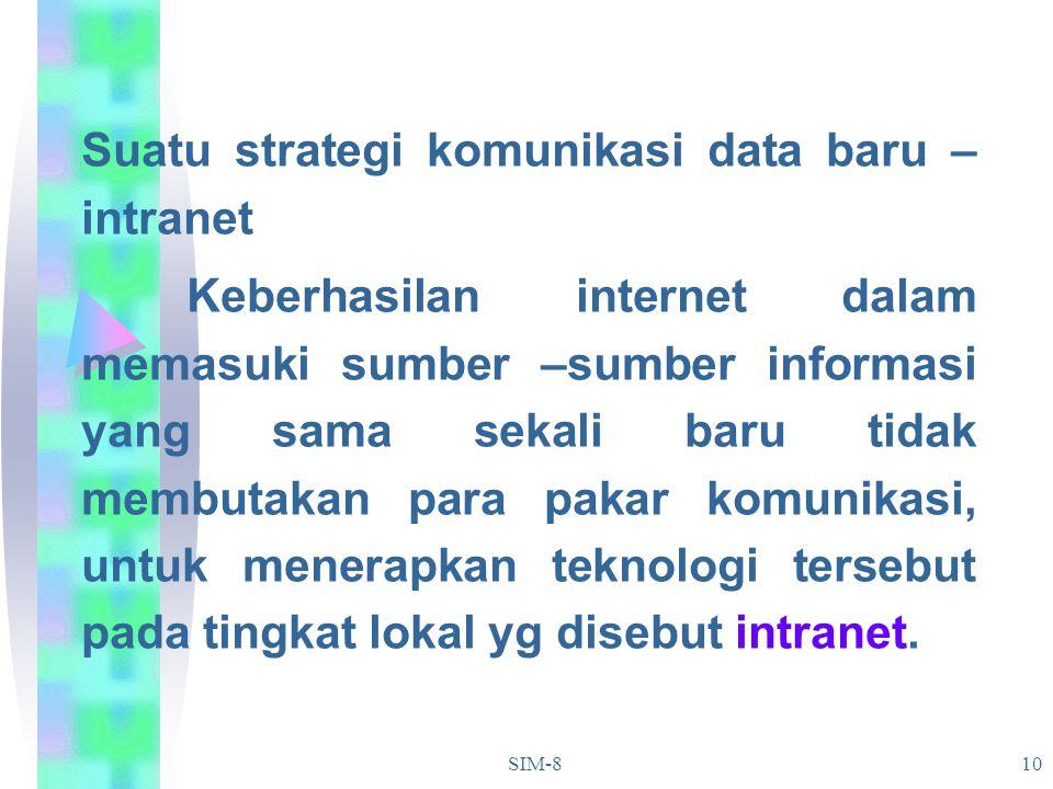 SIM-810 Suatu strategi komunikasi data baru – intranet Keberhasilan internet dalam memasuki sumber –sumber informasi yang sama sekali baru tidak membu