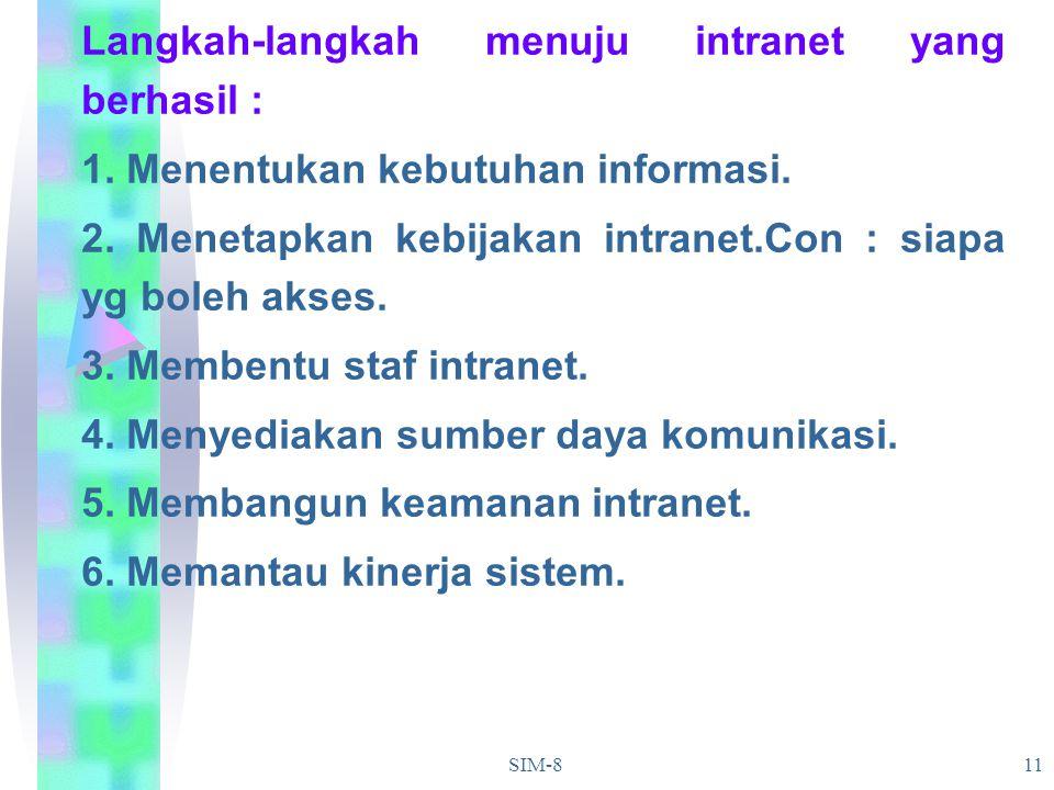SIM-811 Langkah-langkah menuju intranet yang berhasil : 1. Menentukan kebutuhan informasi. 2. Menetapkan kebijakan intranet.Con : siapa yg boleh akses