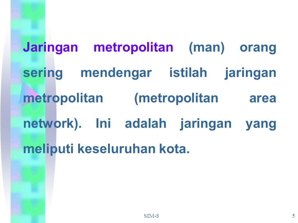 SIM-85 Jaringan metropolitan (man) orang sering mendengar istilah jaringan metropolitan (metropolitan area network). Ini adalah jaringan yang meliputi