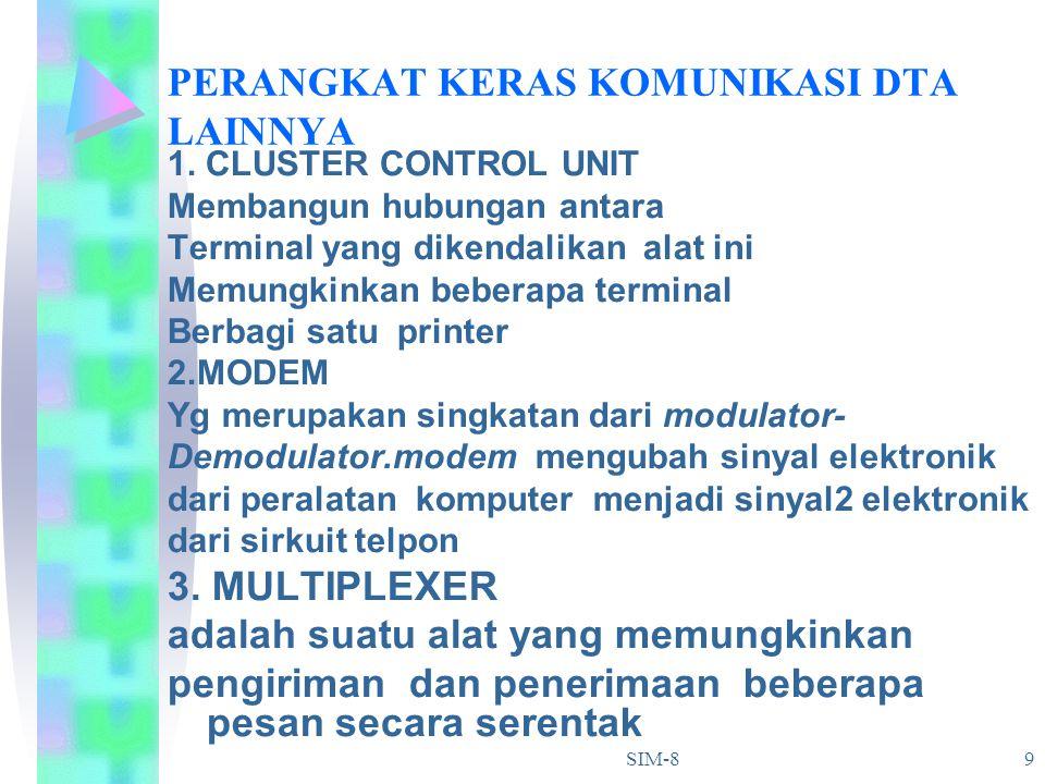 SIM-8 9 PERANGKAT KERAS KOMUNIKASI DTA LAINNYA 1. CLUSTER CONTROL UNIT Membangun hubungan antara Terminal yang dikendalikan alat ini Memungkinkan bebe