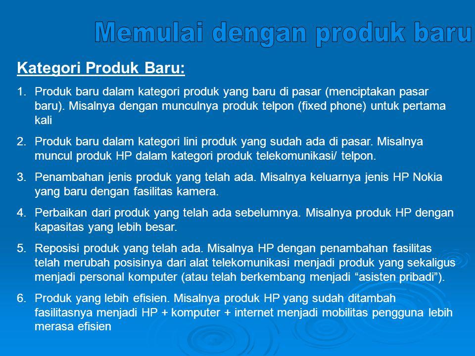 Kategori Produk Baru: 1.Produk baru dalam kategori produk yang baru di pasar (menciptakan pasar baru).