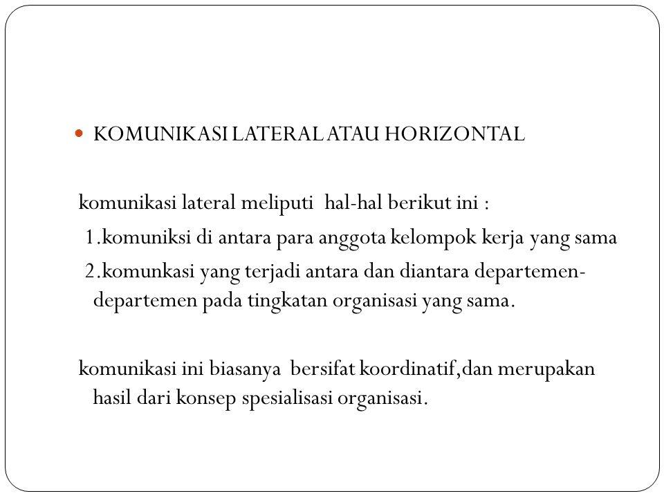 KOMUNIKASI LATERAL ATAU HORIZONTAL komunikasi lateral meliputi hal-hal berikut ini : 1.komuniksi di antara para anggota kelompok kerja yang sama 2.kom
