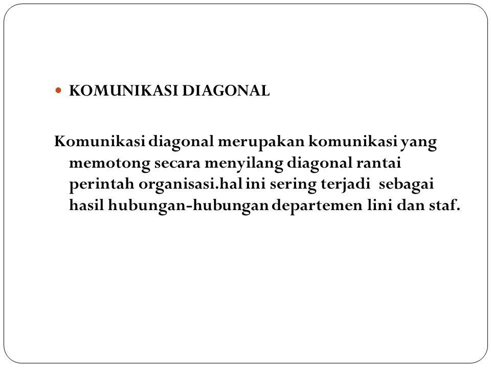 KOMUNIKASI DIAGONAL Komunikasi diagonal merupakan komunikasi yang memotong secara menyilang diagonal rantai perintah organisasi.hal ini sering terjadi