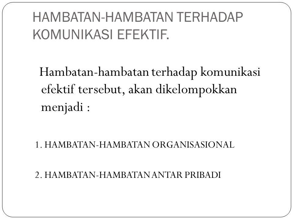 HAMBATAN-HAMBATAN TERHADAP KOMUNIKASI EFEKTIF. Hambatan-hambatan terhadap komunikasi efektif tersebut, akan dikelompokkan menjadi : 1. HAMBATAN-HAMBAT