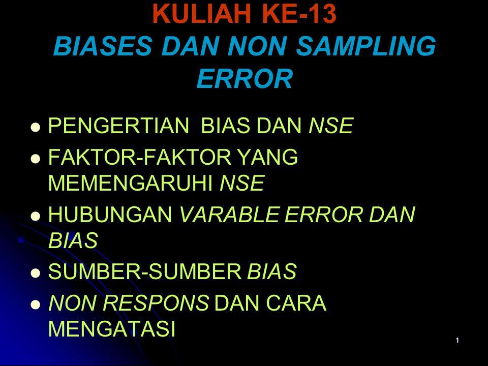 1 KULIAH KE-13 BIASES DAN NON SAMPLING ERROR PENGERTIAN BIAS DAN NSE FAKTOR-FAKTOR YANG MEMENGARUHI NSE HUBUNGAN VARABLE ERROR DAN BIAS SUMBER-SUMBER