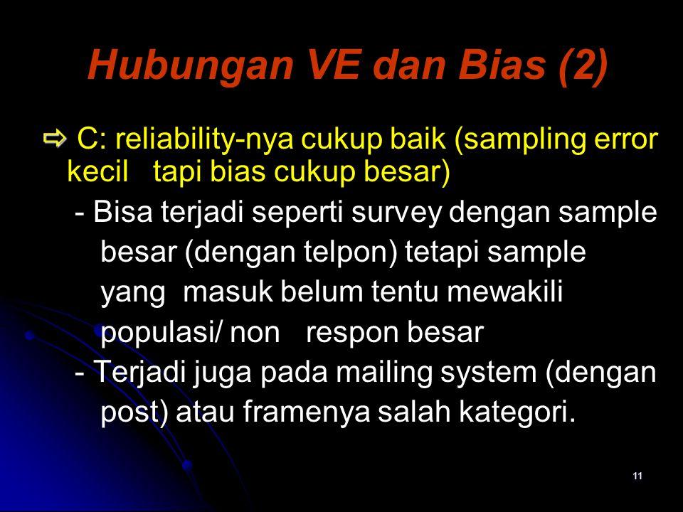 11 Hubungan VE dan Bias (2)   C: reliability-nya cukup baik (sampling error kecil tapi bias cukup besar) - Bisa terjadi seperti survey dengan sample