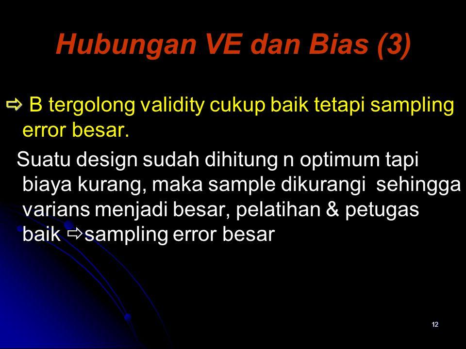 12 Hubungan VE dan Bias (3)   B tergolong validity cukup baik tetapi sampling error besar. Suatu design sudah dihitung n optimum tapi biaya kurang,