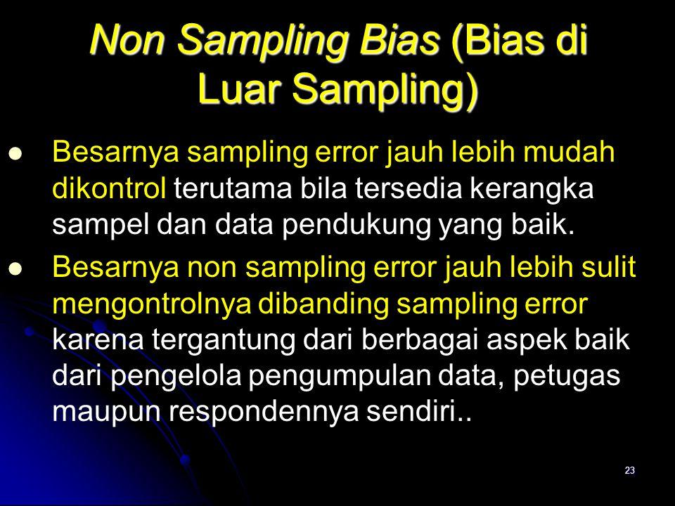 23 Non Sampling Bias (Bias di Luar Sampling) Besarnya sampling error jauh lebih mudah dikontrol terutama bila tersedia kerangka sampel dan data penduk