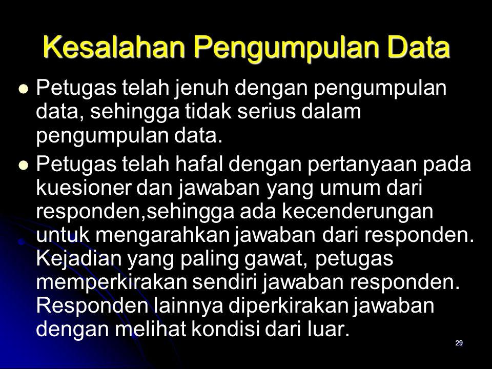 29 Kesalahan Pengumpulan Data Petugas telah jenuh dengan pengumpulan data, sehingga tidak serius dalam pengumpulan data. Petugas telah hafal dengan pe