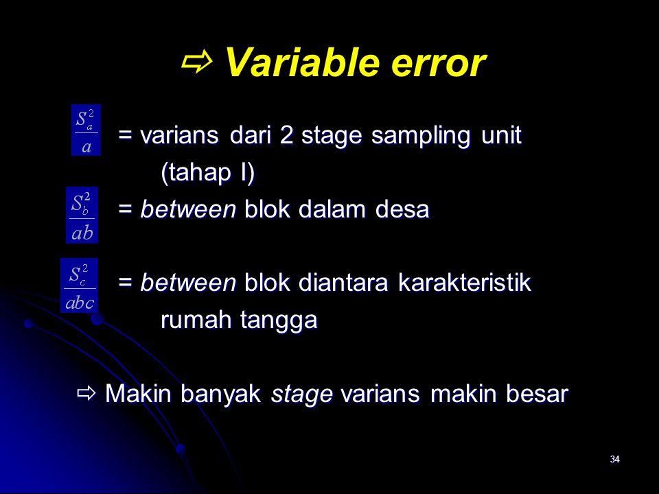 34  Variable error = varians dari 2 stage sampling unit = varians dari 2 stage sampling unit (tahap I) (tahap I) = between blok dalam desa = between