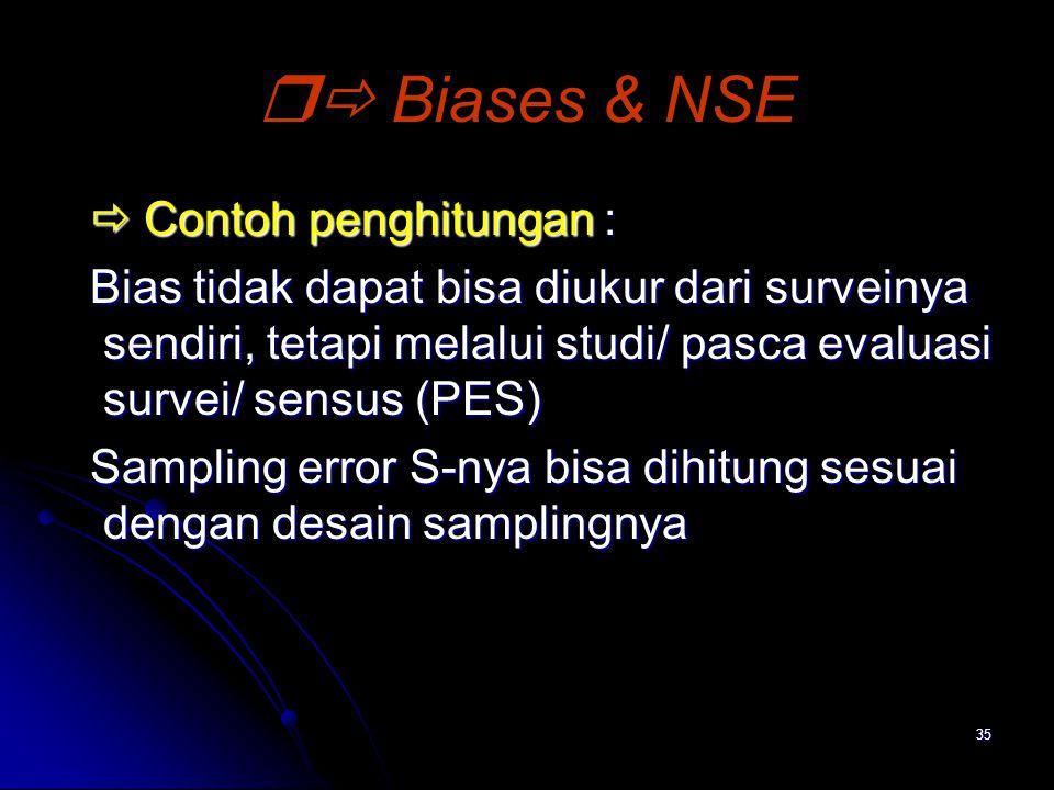 35  Biases & NSE  Contoh penghitungan :  Contoh penghitungan : Bias tidak dapat bisa diukur dari surveinya sendiri, tetapi melalui studi/ pasca ev