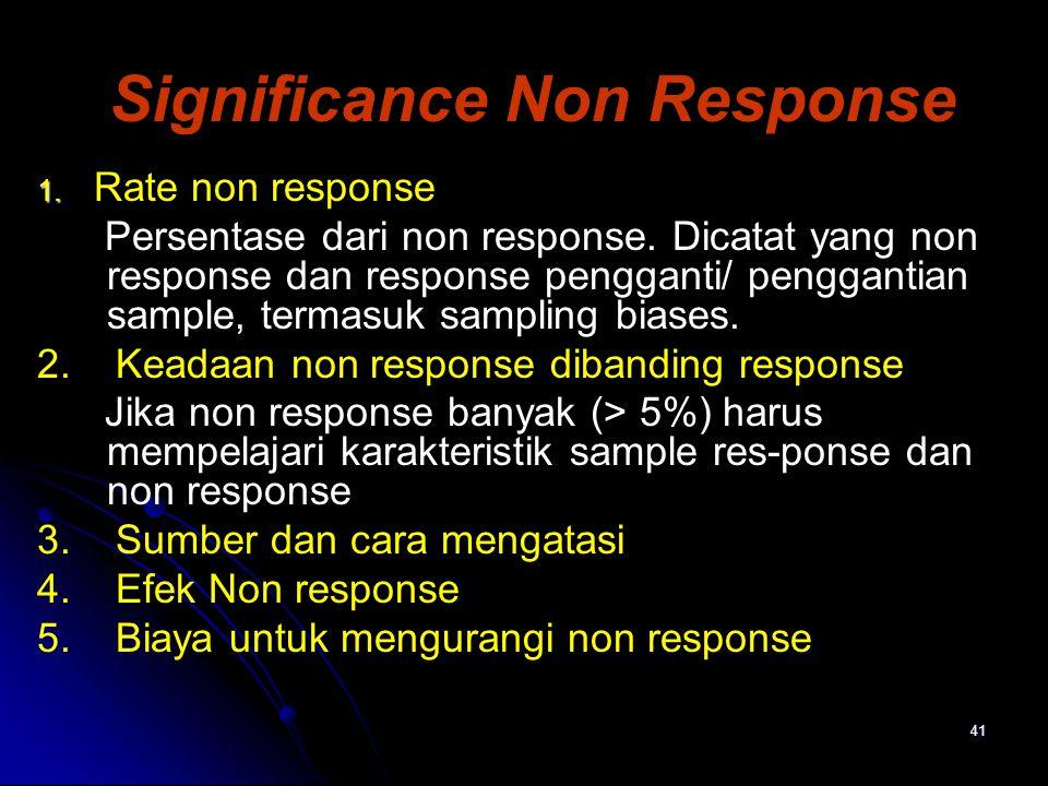 41 Significance Non Response 1. 1. Rate non response Persentase dari non response. Dicatat yang non response dan response pengganti/ penggantian sampl