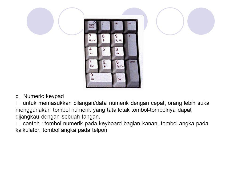d. Numeric keypad ƒ untuk memasukkan bilangan/data numerik dengan cepat, orang lebih suka menggunakan tombol numerik yang tata letak tombol-tombolnya