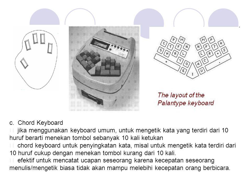 c. Chord Keyboard ƒ jika menggunakan keyboard umum, untuk mengetik kata yang terdiri dari 10 huruf berarti menekan tombol sebanyak 10 kali ketukan ƒ c