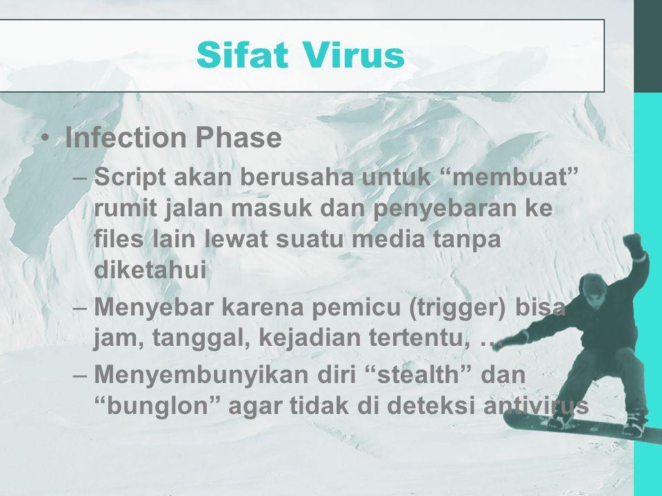 Sifat Virus Infection Phase –Script akan berusaha untuk membuat rumit jalan masuk dan penyebaran ke files lain lewat suatu media tanpa diketahui –Menyebar karena pemicu (trigger) bisa jam, tanggal, kejadian tertentu, … –Menyembunyikan diri stealth dan bunglon agar tidak di deteksi antivirus