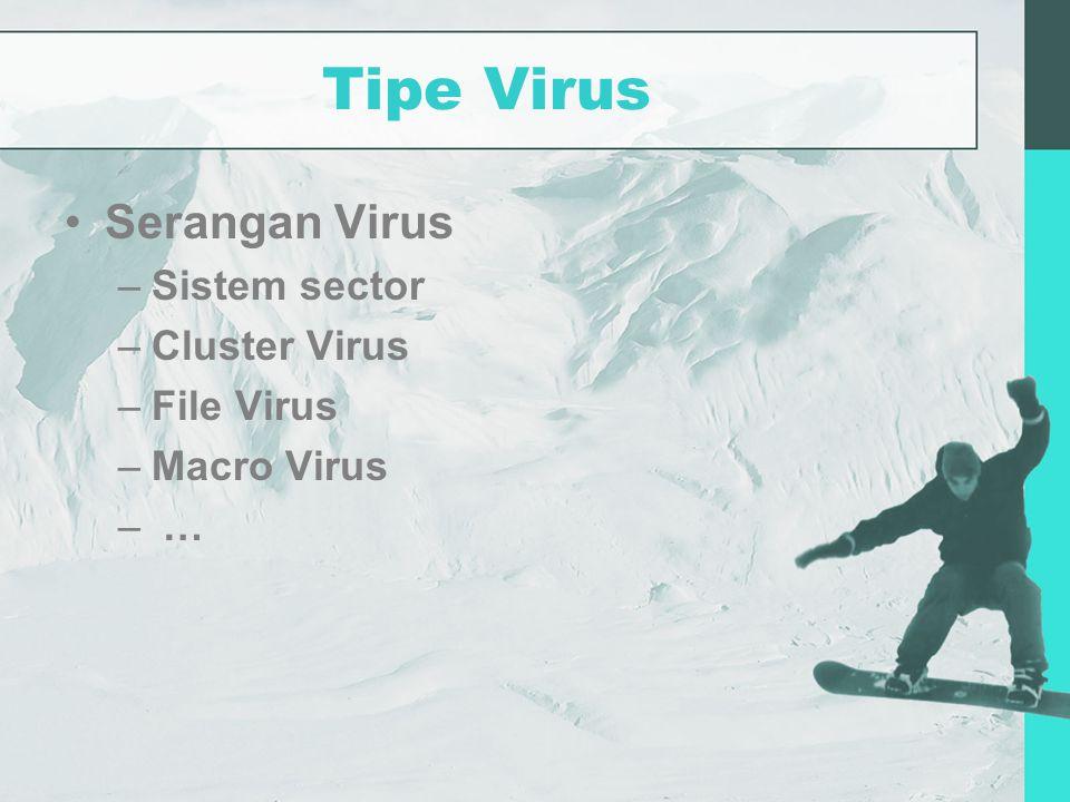 Tipe Virus Serangan Virus –Sistem sector –Cluster Virus –File Virus –Macro Virus – …