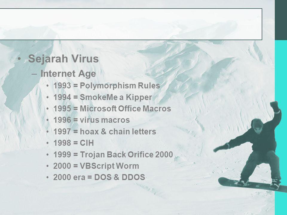 Sejarah Virus –Internet Age 1993 = Polymorphism Rules 1994 = SmokeMe a Kipper 1995 = Microsoft Office Macros 1996 = virus macros 1997 = hoax & chain letters 1998 = CIH 1999 = Trojan Back Orifice 2000 2000 = VBScript Worm 2000 era = DOS & DDOS