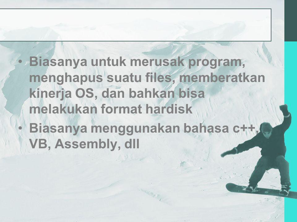 Biasanya untuk merusak program, menghapus suatu files, memberatkan kinerja OS, dan bahkan bisa melakukan format hardisk Biasanya menggunakan bahasa c++, VB, Assembly, dll