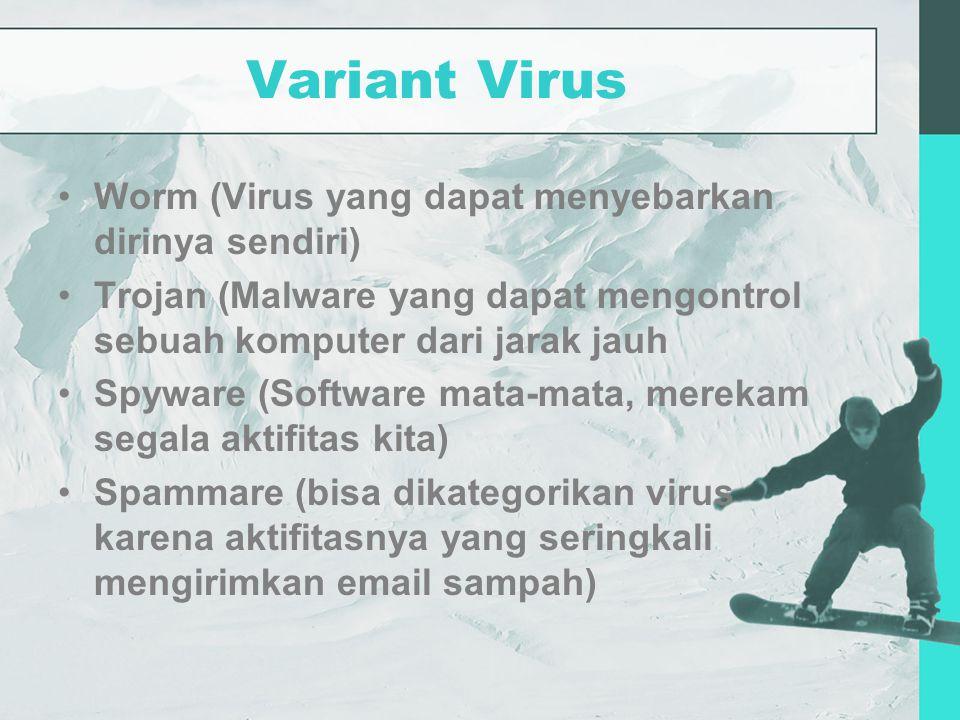 Variant Virus Worm (Virus yang dapat menyebarkan dirinya sendiri) Trojan (Malware yang dapat mengontrol sebuah komputer dari jarak jauh Spyware (Software mata-mata, merekam segala aktifitas kita) Spammare (bisa dikategorikan virus karena aktifitasnya yang seringkali mengirimkan email sampah)