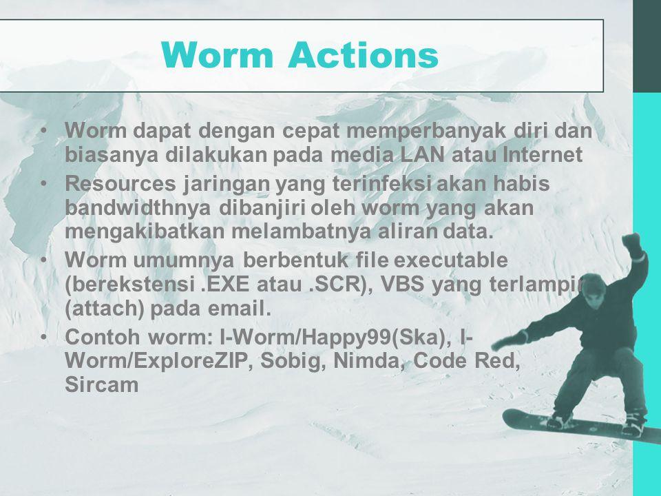 Worm Actions Worm dapat dengan cepat memperbanyak diri dan biasanya dilakukan pada media LAN atau Internet Resources jaringan yang terinfeksi akan habis bandwidthnya dibanjiri oleh worm yang akan mengakibatkan melambatnya aliran data.