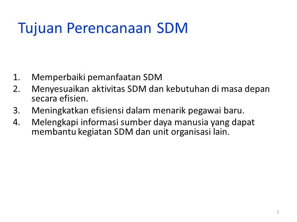 5 Tujuan Perencanaan SDM 1.Memperbaiki pemanfaatan SDM 2.Menyesuaikan aktivitas SDM dan kebutuhan di masa depan secara efisien.