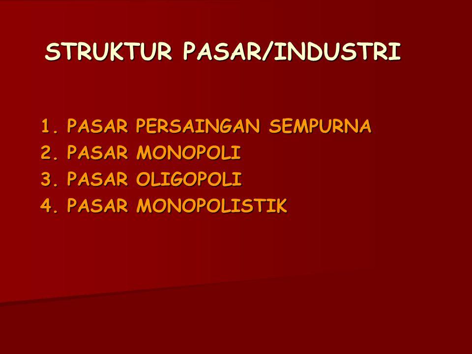 STRUKTUR PASAR/INDUSTRI 1. PASAR PERSAINGAN SEMPURNA 2. PASAR MONOPOLI 3. PASAR OLIGOPOLI 4. PASAR MONOPOLISTIK