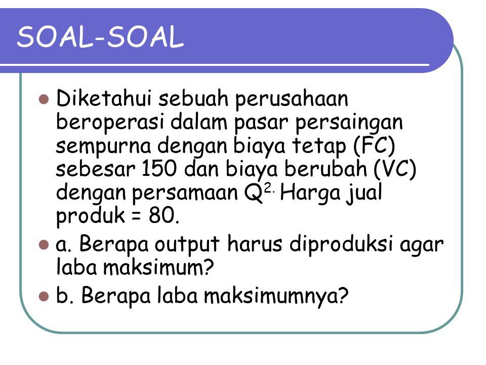 SOAL-SOAL Diketahui sebuah perusahaan beroperasi dalam pasar persaingan sempurna dengan biaya tetap (FC) sebesar 150 dan biaya berubah (VC) dengan per
