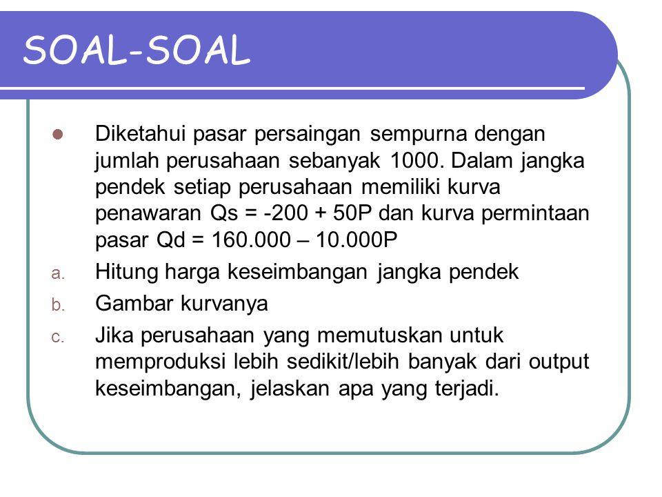 SOAL-SOAL Diketahui pasar persaingan sempurna dengan jumlah perusahaan sebanyak 1000. Dalam jangka pendek setiap perusahaan memiliki kurva penawaran Q