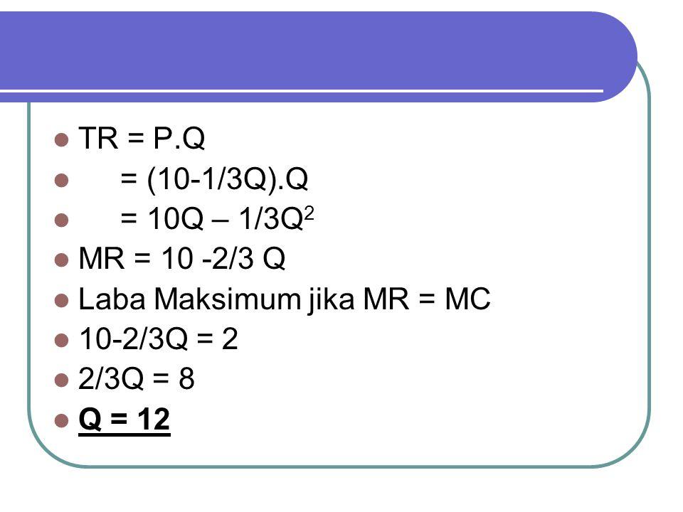 TR = P.Q = (10-1/3Q).Q = 10Q – 1/3Q 2 MR = 10 -2/3 Q Laba Maksimum jika MR = MC 10-2/3Q = 2 2/3Q = 8 Q = 12