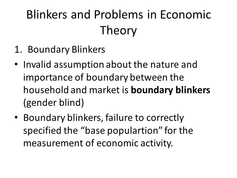 Blinkers and Problems in Economic Theory 1.Boundary Blinkers Invalid assumption about the nature and importance of boundary between the household and