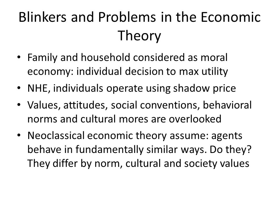 Blinkers and Problems in the Economic Theory Family and household considered as moral economy: individual decision to max utility NHE, individuals ope