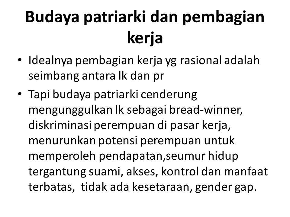 Budaya patriarki dan pembagian kerja Idealnya pembagian kerja yg rasional adalah seimbang antara lk dan pr Tapi budaya patriarki cenderung mengunggulk