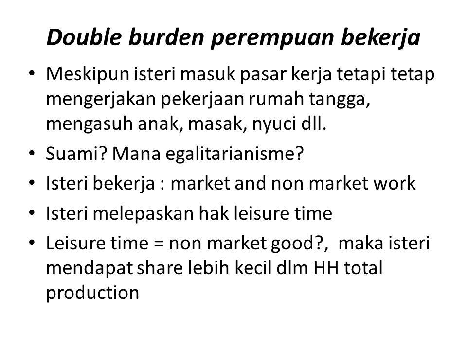 Double burden perempuan bekerja Meskipun isteri masuk pasar kerja tetapi tetap mengerjakan pekerjaan rumah tangga, mengasuh anak, masak, nyuci dll. Su