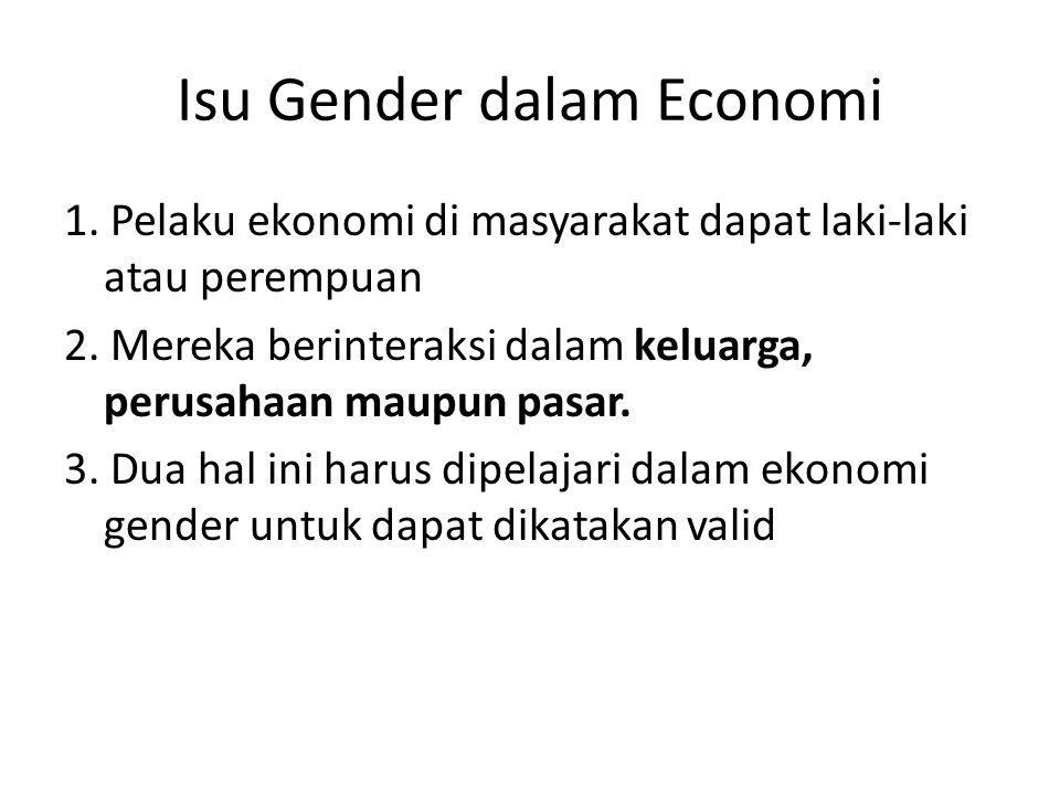 Isu Gender dalam Economi 1. Pelaku ekonomi di masyarakat dapat laki‐laki atau perempuan 2. Mereka berinteraksi dalam keluarga, perusahaan maupun pasar