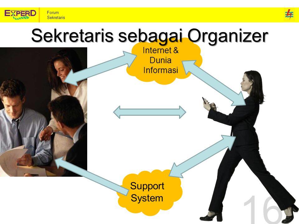 Forum Sekretaris Internet & Dunia Informasi 16 Sekretaris sebagai Organizer Support System