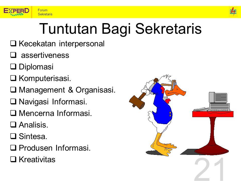 Forum Sekretaris Tuntutan Bagi Sekretaris  Kecekatan interpersonal  assertiveness  Diplomasi  Komputerisasi.