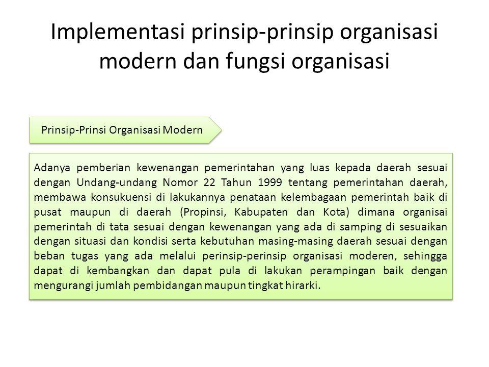 Implementasi prinsip-prinsip organisasi modern dan fungsi organisasi Adanya pemberian kewenangan pemerintahan yang luas kepada daerah sesuai dengan Un