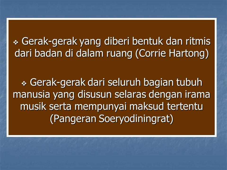  Gerak-gerak yang diberi bentuk dan ritmis dari badan di dalam ruang (Corrie Hartong)  Gerak-gerak dari seluruh bagian tubuh manusia yang disusun se
