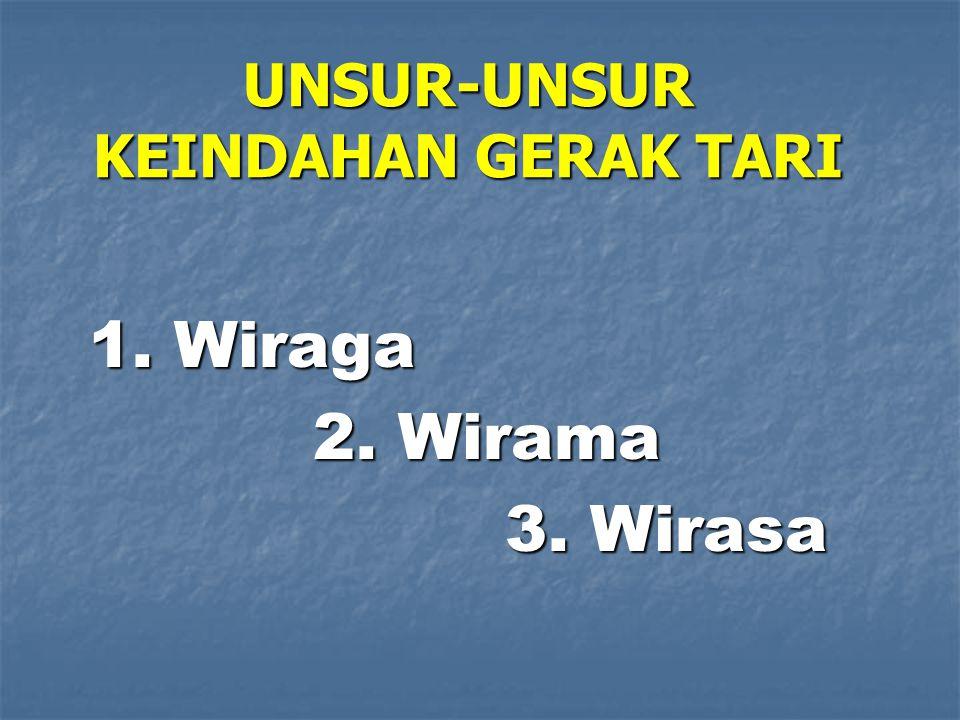 UNSUR-UNSUR KEINDAHAN GERAK TARI 1. Wiraga 2. Wirama 2. Wirama 3. Wirasa 3. Wirasa