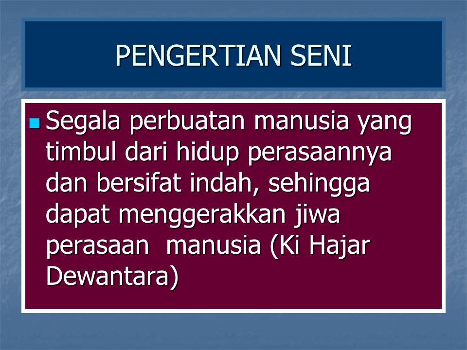 KEDUDUKAN SENI PADA MASYARAKAT MEMILIKI TIGA WILAYAH WILAYAH KREATIF: SENIMAN WILAYAH KREATIF: SENIMAN WILAYAH REKREATIF : PENGAMAT WILAYAH REKREATIF : PENGAMAT WILAYAH APRESIATIF :PENCINTA SENI WILAYAH APRESIATIF :PENCINTA SENI