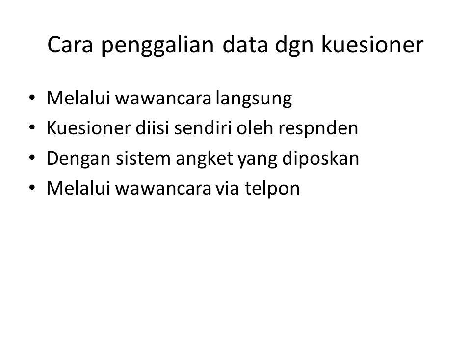 Cara penggalian data dgn kuesioner Melalui wawancara langsung Kuesioner diisi sendiri oleh respnden Dengan sistem angket yang diposkan Melalui wawanca