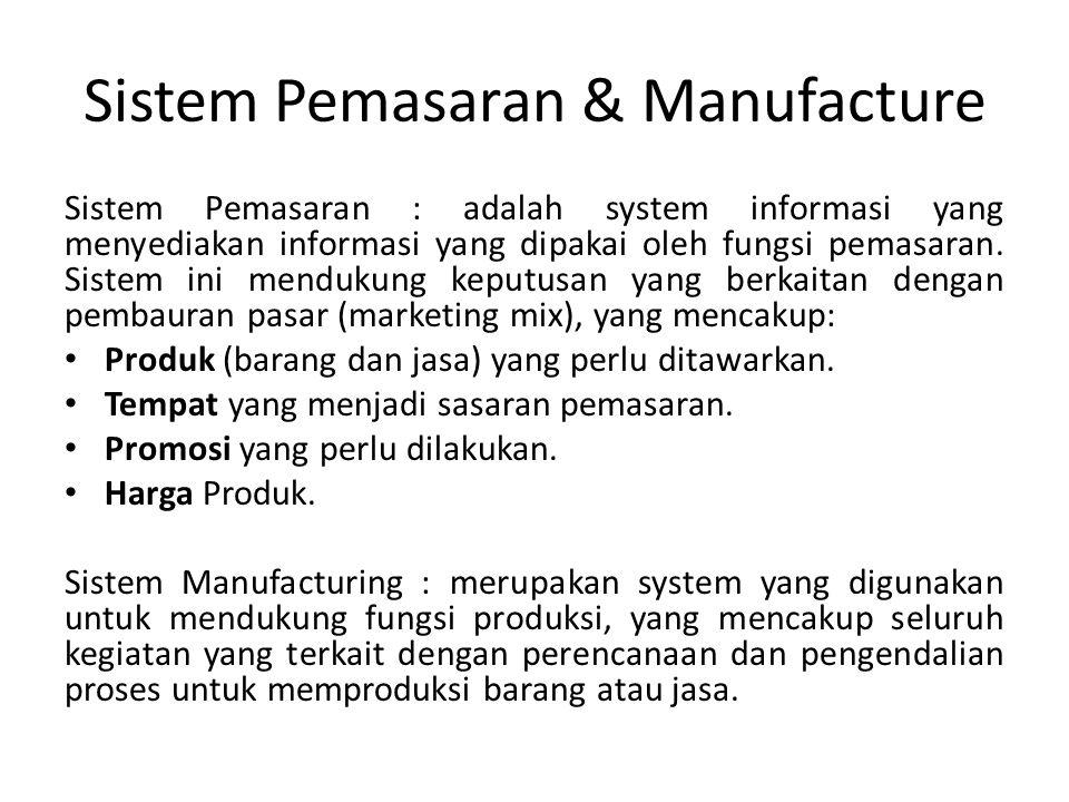 Sistem Pemasaran & Manufacture Sistem Pemasaran : adalah system informasi yang menyediakan informasi yang dipakai oleh fungsi pemasaran.